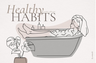 Healthy Habits. Line art collection