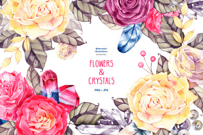 Watercolor boho flowers and crystals