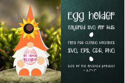 Gnome and Sunflower Egg Holder Template SVG