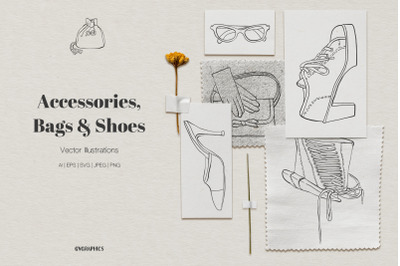 Accessories, Bags and Shoes Vector Illustrations