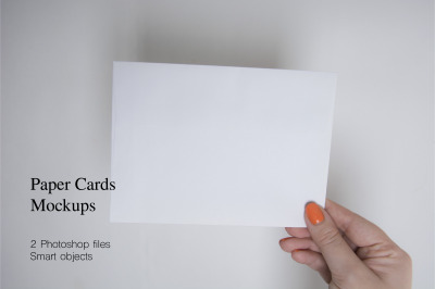 Paper Card mockups. 2 PSD files with smart objects.