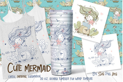 Skinny tumbler Png. Cute mermaid clipart sublimation Png Svg