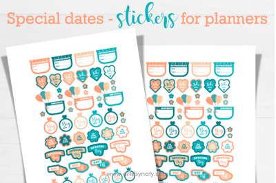 Special dates - stickers for planners.