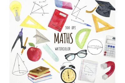 Watercolor Maths Clipart, Mathematics Clipart