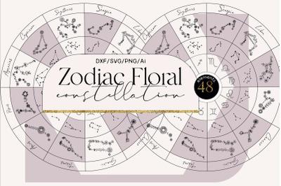 Zodiac floral constellation