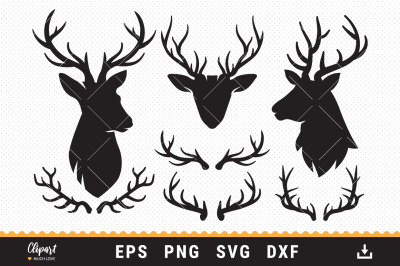 Deer Antler SVG, Deer head SVG, SVG, DXF, PNG, Cut files