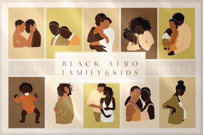 Abstract Black Afro Family&Kids