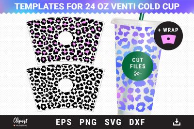 Full Pre-sized Wrap Venti Cold Cup 24 Oz Leopard print SVG