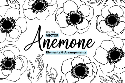Anemone Line Art Vector Flowers, Sketch Anemones Florals