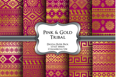 Pink and Gold Tribal Digital Paper Pack