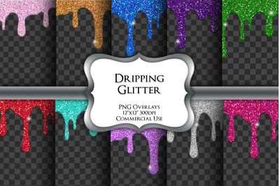 Dripping Glitter Overlays Transparent PNG