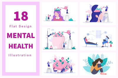 18 Mental Health Psychology Flat Illustration