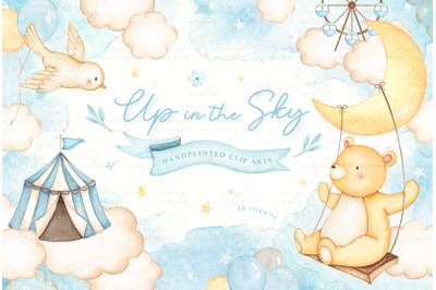 Up in the Sky Watercolor Clip Arts