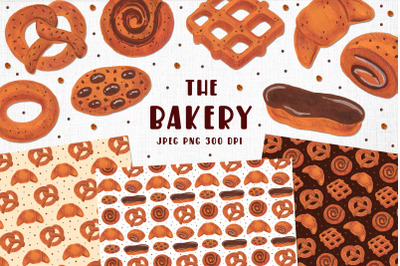 Bakery illustrations. Card design. Seamless border, patterns
