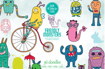 Colored Friendly Monsters | Hand Drawn Fun Characters | Sea Creatures
