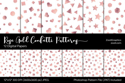 Rose Gold Confetti Digital Papers