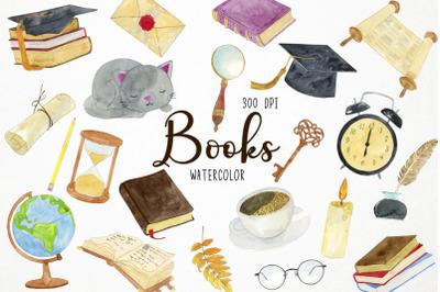 Watercolor Books Clipart, Library Clipart, Literature Clipart