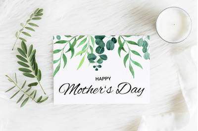 Printable Mother's Day Card, Greenery Card 5x7 inches