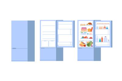 Food open fridge. Closed opened refrigerator, flat full and empty food
