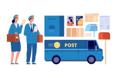 Postman characters. Postal mailman, woman man in uniform send envelope