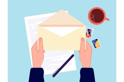 Hand holding envelope. Mail message, correspondence paper letter. Prep