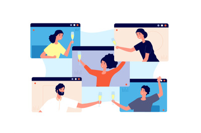 Online party. Friends celebrate birthday, meeting in isolation or quar