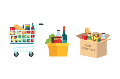Shopping food carts. Grocery store, supermarket full basket with produ