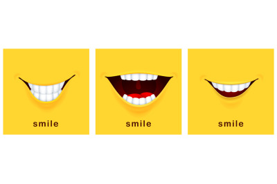 Smile day cards. Happy smiles, positive mood. Yellow laughter banners,