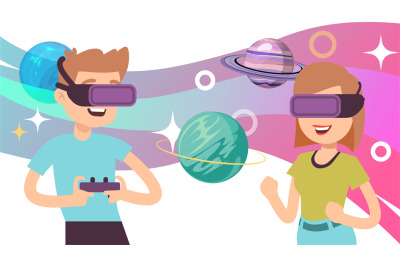 Virtual space travel. Man woman wear VR glasses, augmented reality gam