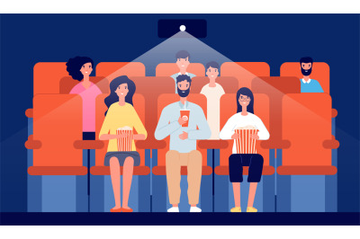Family in cinema. Cartoon movie theater, people watching film eat and