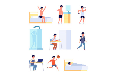 Boy daily activities. Kid hygiene, smiling active baby morning time. L