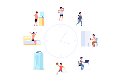Daily life schedule. Cartoon kid routine, boy activities. Flat cute ch