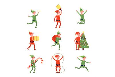 Christmas elves. Cartoon elf, flat santa helpers holding present, bag,