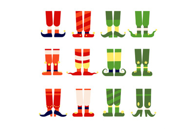 Elf feet and legs. Christmas santa elves stocking in shoes boots. Cute