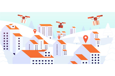 Christmas gift drone delivery. Contactless presents service, digital d