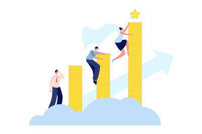 Female career growth. Modern business, woman aspiring to success. Asce