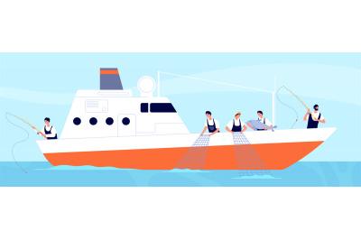 Fishery season. Fishermen on boat, commercial fishery ship in ocean. I