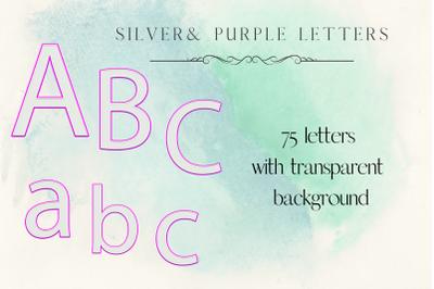Silver letters, Purple sparkle digital alphabet