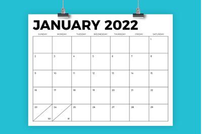 8.5 x 11 Inch Bold 2022 Calendar