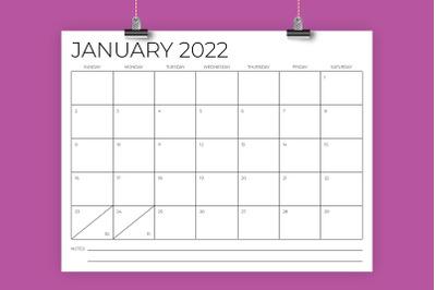 8.5 x 11 Inch Minimal 2022 Calendar