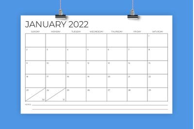 11 x 17 Inch Modern 2022 Calendar