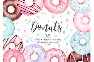 Watercolor Donuts Clipart Collection