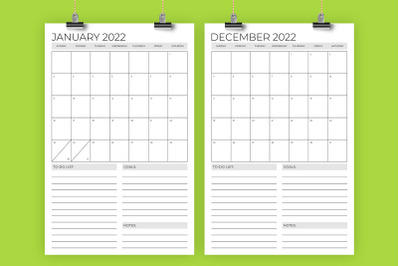 Vertical 11 x 17 Inch 2022 Calendar