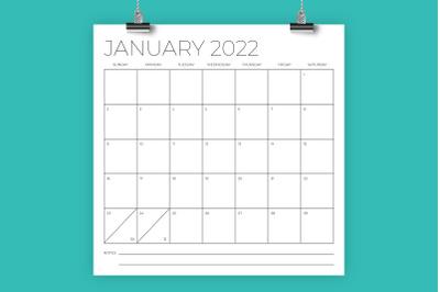 12 x 12 Inch Minimal 2022 Calendar