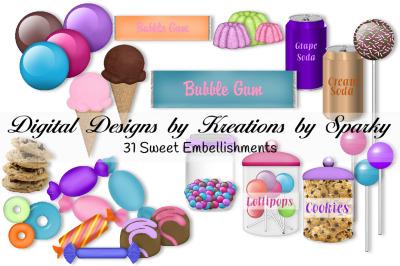 31 Sweet Embellishments digital images