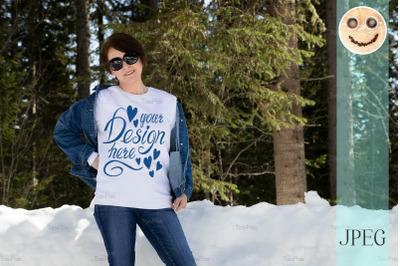 White sweatshirt mockup of a woman in sunglasses