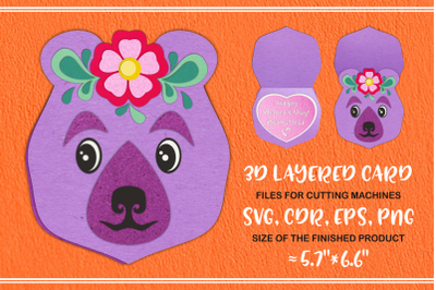Mama Bear 3D Layered Mother's Day Card Svg