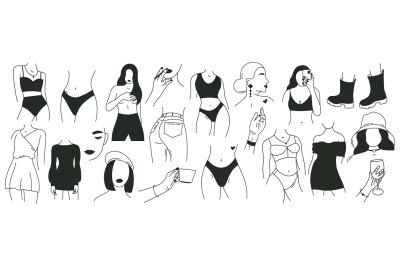 Minimalist faceless woman. Outline graceful female body parts, modern