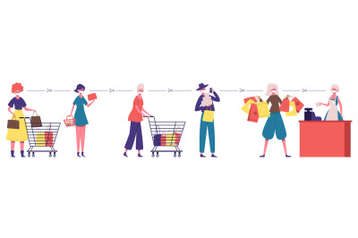 Supermarket line. Social distancing people queue, safe distance at gro