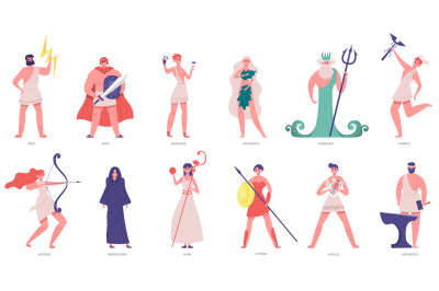 Ancient olympic gods. Greek gods and goddesses, zeus, poseidon, athena